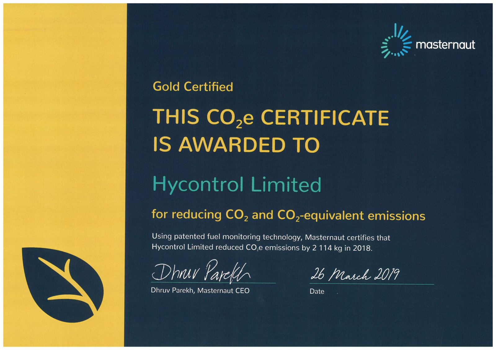 Hycontrol CO2 reduction certificate